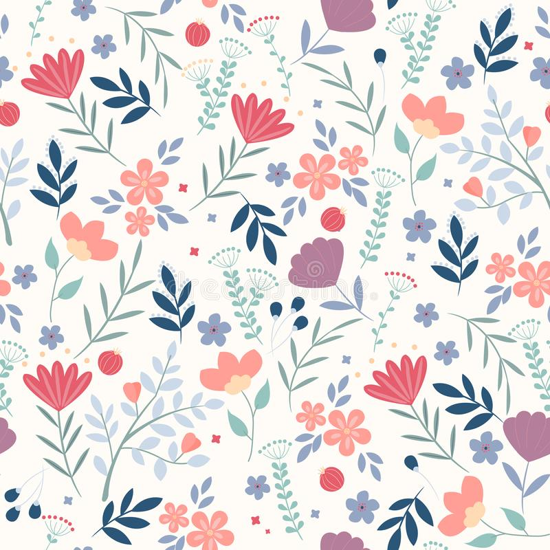 Vector floral pattern in doodle style with flowers and leaves on white background. Gentle, spring floral background. Can royalty free illustration