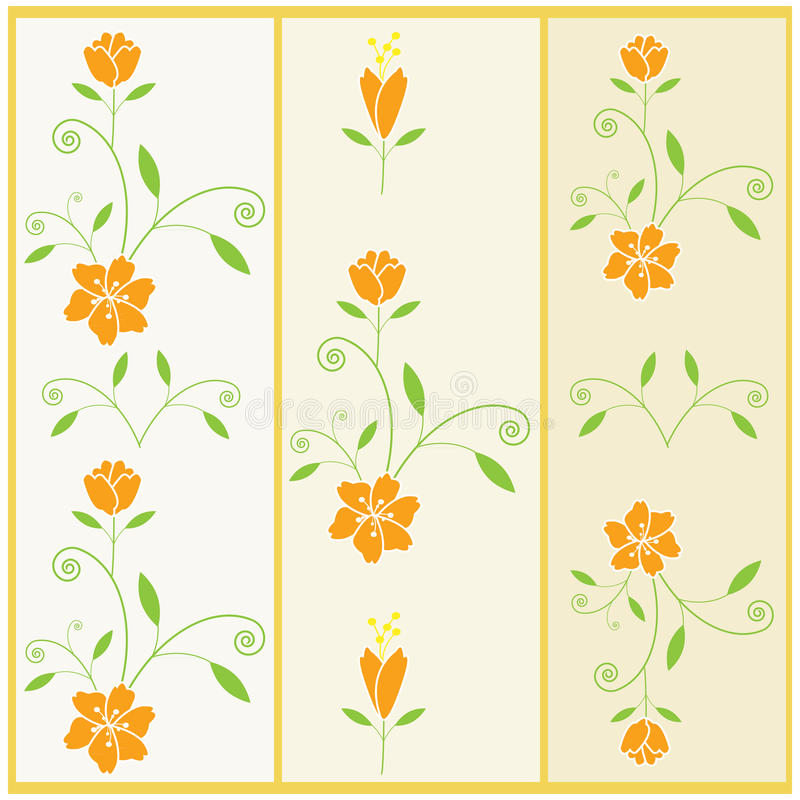 Vector floral pattern with flower and leaves stock illustration