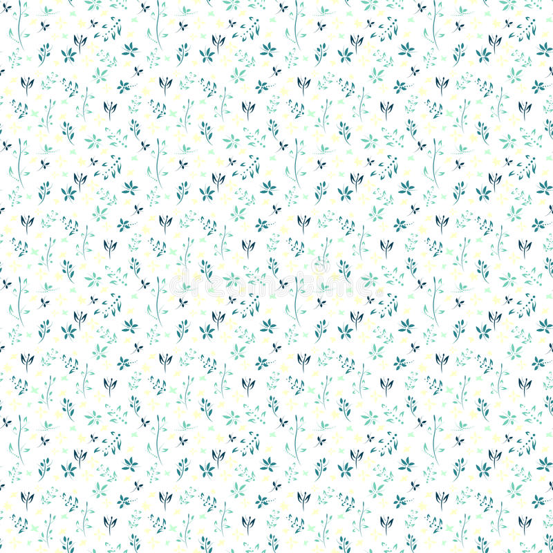Vector floral pattern with flowers and leaves. Gentle, spring floral background royalty free illustration