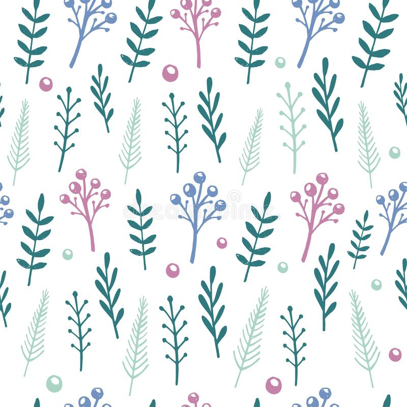 Vector floral pattern with handdrawn flowers and leafs stock illustration