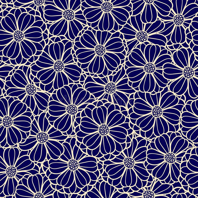 Vector floral pattern of overlapping flowers. royalty free illustration