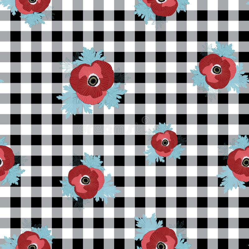 Vector floral repeat seamless pattern with red and pink anemone flowers on black checked background royalty free illustration