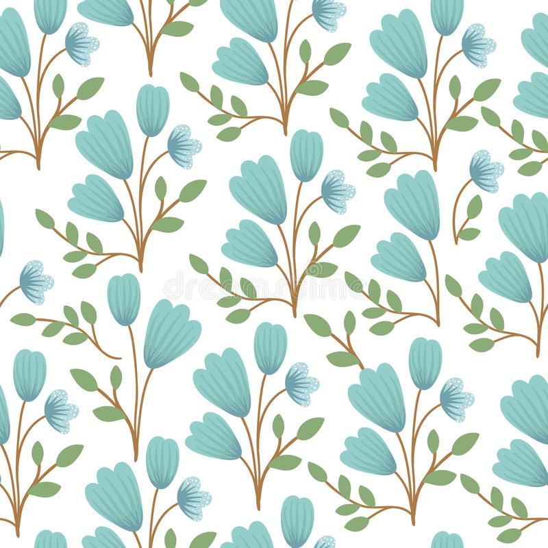 Vector floral seamless background. Hand drawn flat simple trendy illustration with blue bell flowers and leaves. Repeating pattern vector illustration