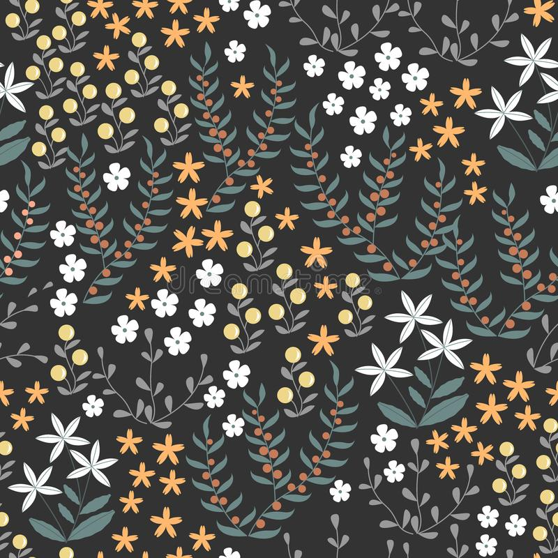 Vector floral seamless pattern with abstract flat doodle elements such as plants, flowers, berries and grass. Forest stock illustration
