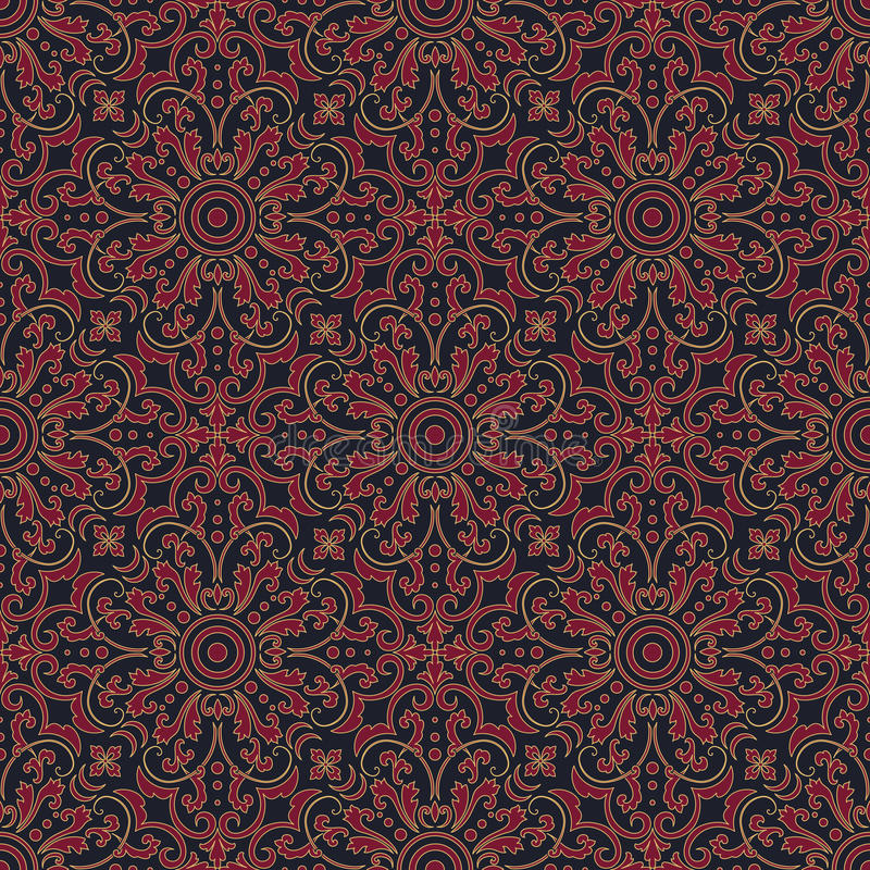 Vector floral seamless pattern background in Arabian style. Arabesque pattern. Eastern ethnic ornament. royalty free stock image