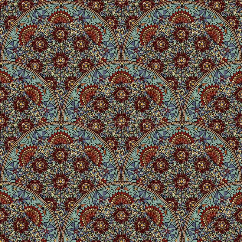 Vector floral seamless pattern background in Arabian style. Arabesque pattern. Eastern ethnic ornament. royalty free stock photos