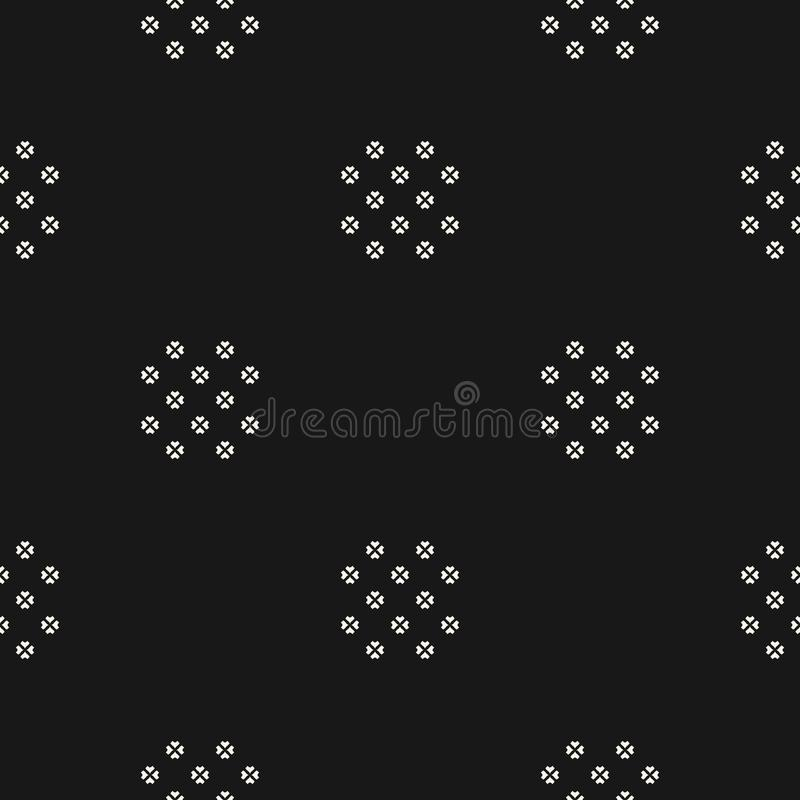 Vector floral seamless pattern. Black and white abstract geometric background vector illustration