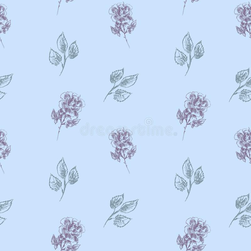 Vector floral seamless pattern with blooming roses. Seamless floral pattern on a gentle blue background. Roses are drawn in pencil stock illustration