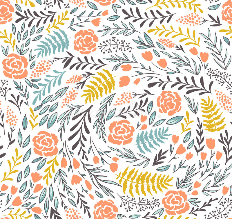 Vector floral seamless pattern in doodle style with flowers and leaves. vector illustration