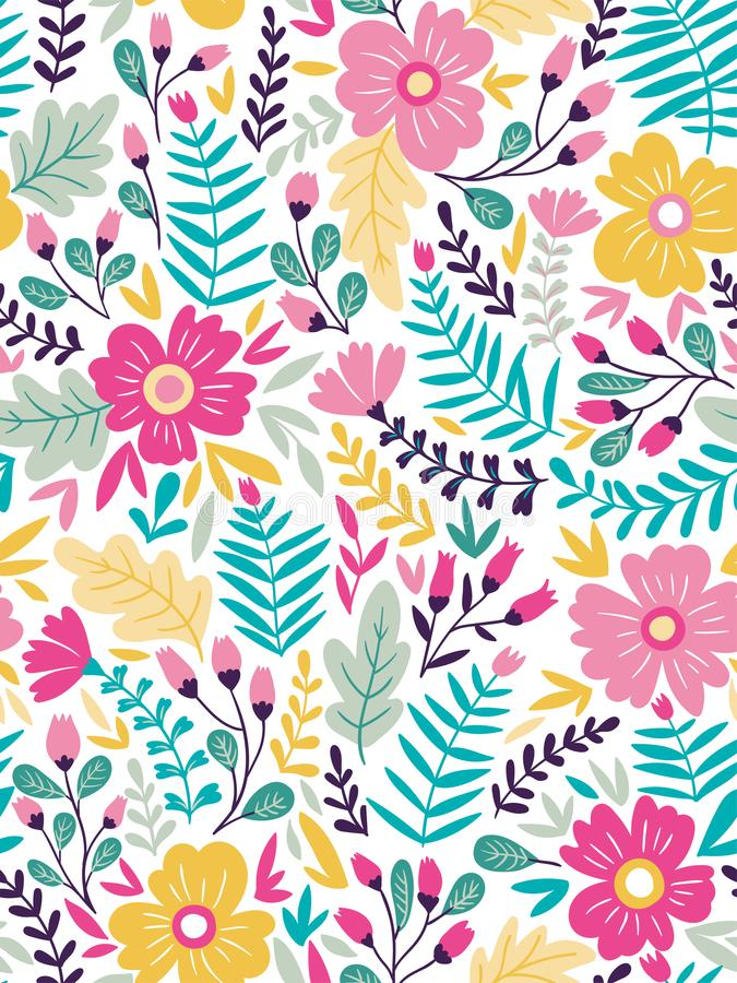 Vector floral seamless pattern in doodle style with flowers and leaves. Summer floral background. stock illustration