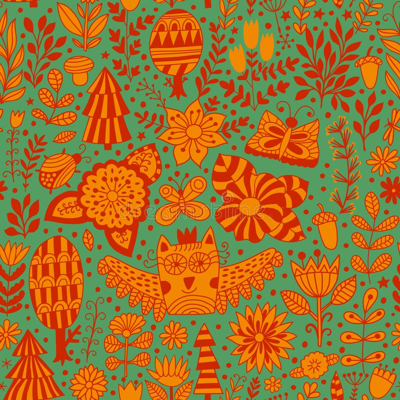 Vector floral seamless pattern with forest, owl, trees. stock illustration