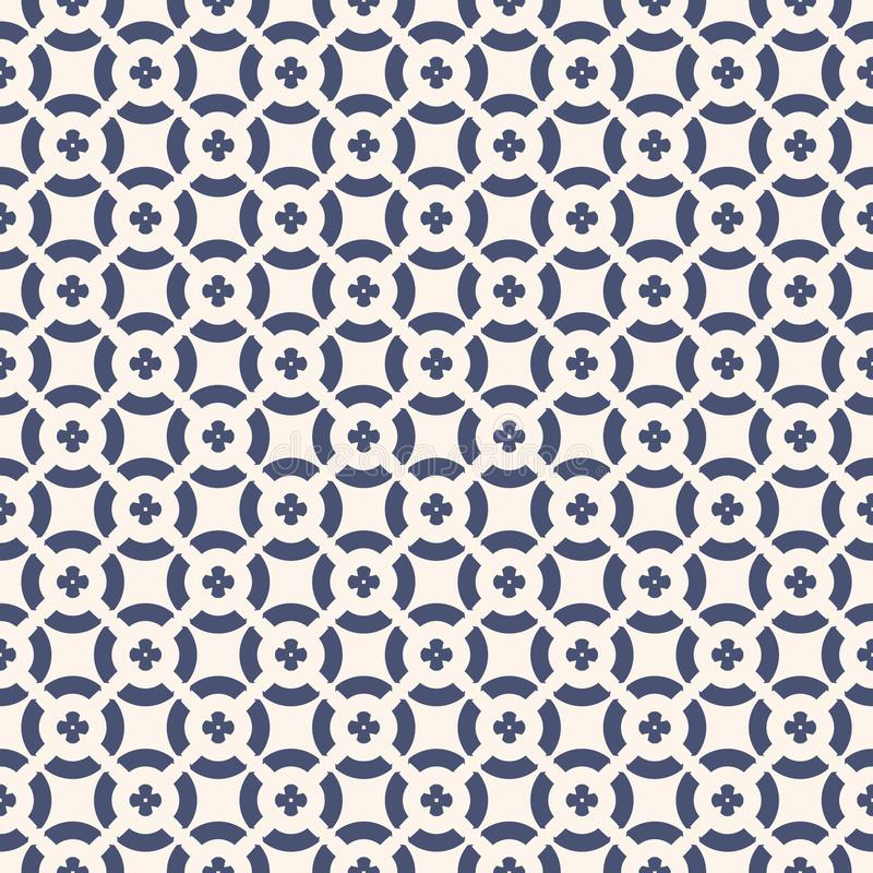 Vector floral seamless pattern. Geometric ornament in navy blue and white colors vector illustration