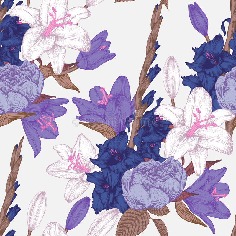 Vector floral seamless pattern with hand drawn gladiolus flowers, lilies and roses vector illustration