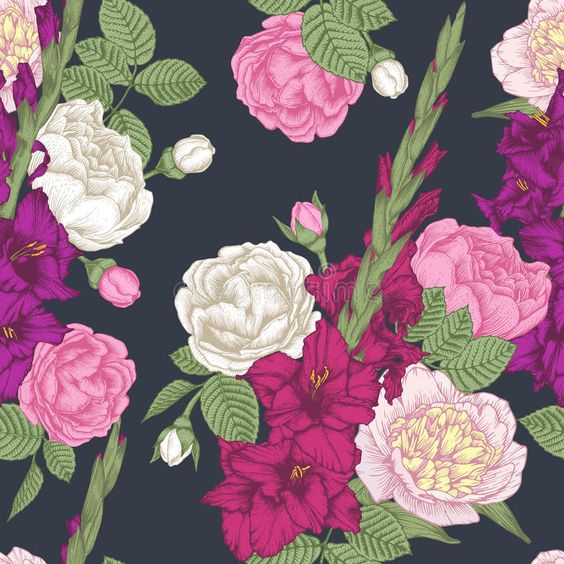Vector floral seamless pattern with hand drawn gladiolus flowers, roses and peonies stock illustration