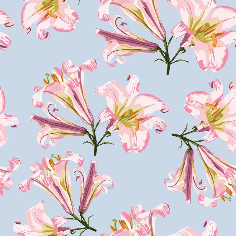 Vector floral seamless pattern with pink lilies flowers. Floral background in vintage style vector illustration