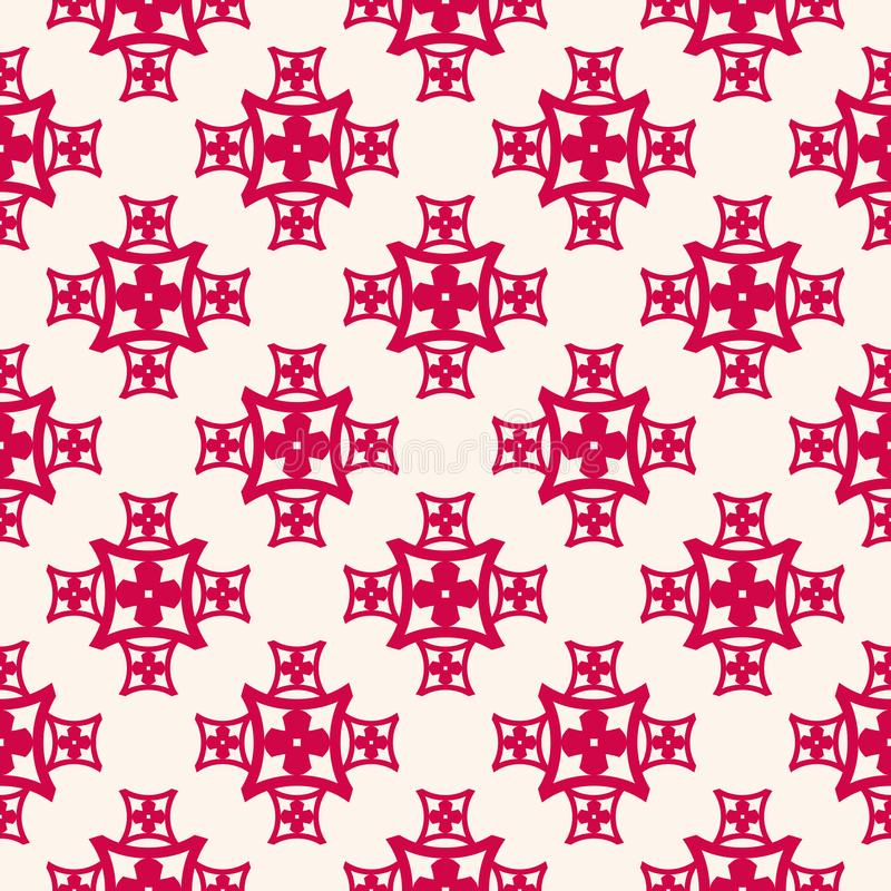 Vector floral seamless pattern, red and beige abstract ornament in Asian style. Vector floral seamless pattern, red and beige repeat ornamental texture in Asian royalty free illustration