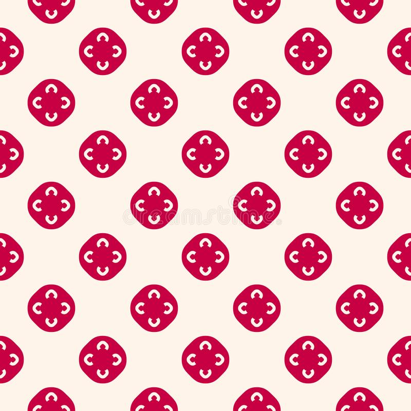 Vector floral seamless pattern. Red and beige geometric stock illustration