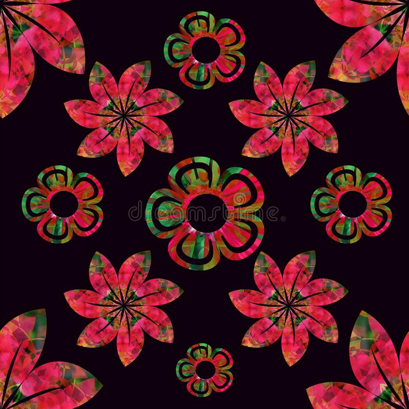 Vector floral seamless pattern, red and green, plain black background stock photo