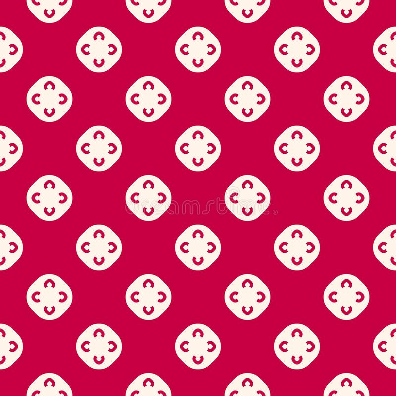 Vector floral seamless pattern. Red and white geometric ornamental texture stock illustration