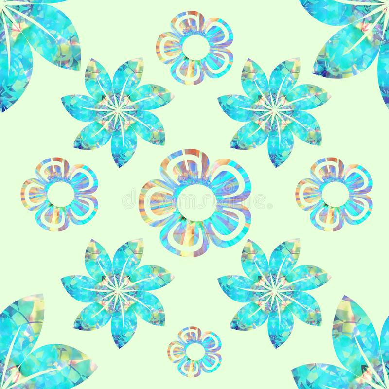 Vector floral seamless pattern, turquoise, yellow, brown, plain cream background stock photo
