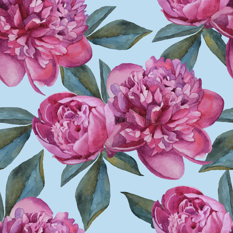 Vector floral seamless pattern with watercolor purple peonies. royalty free illustration