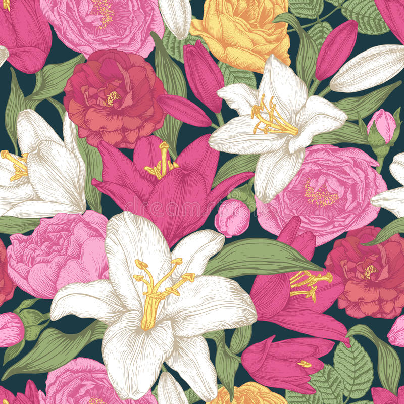 Vector floral seamless pattern with white and red lilies, pink and yellow roses. stock illustration