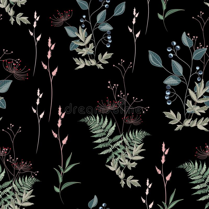 Vector floral seamless pattern with wild meadow flowers, herbs, grasses, leaves and branch of berries. Thin delicate line silhouettes of different plants royalty free illustration