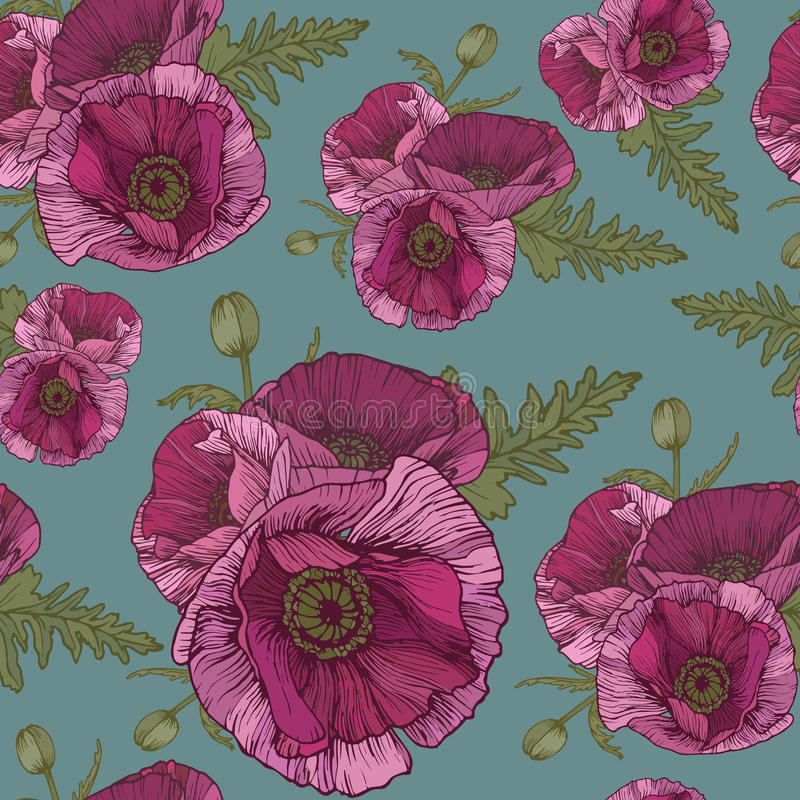 Free Vector Floral Seamless Pattern With Pink Poppies Stock Photos - 60119853