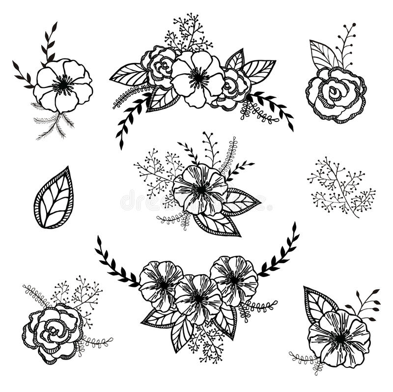 Vector floral set. Graphic collection with leaves and flowers, drawing elements. stock illustration