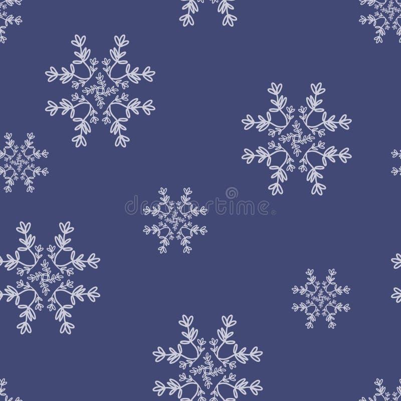 Vector Floral Star Snowflakes na tle niebieskiego wzorca bez szwu royalty ilustracja