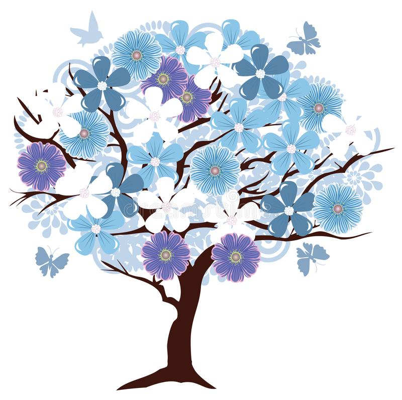 Vector Floral Tree With Birds and Butterflies. Vector illustration of an abstract floral tree with birds and butterflies stock illustration