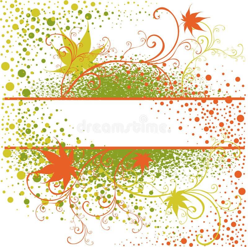 Vector Floral vintage grunge green frame vector illustration