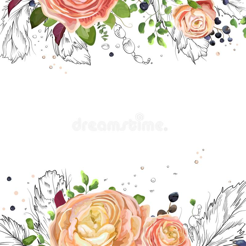 Vector floral watercolor card design: pink peach rose Ranunculus flowers Eucalyptus greenery, fern leaf, bird line drawn graphic. Feathers frame border. Vector vector illustration