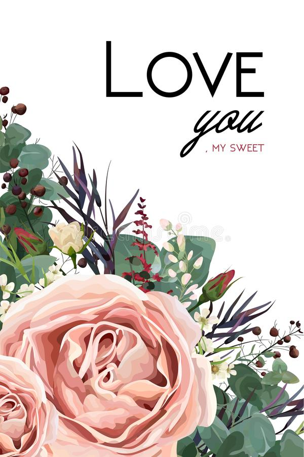 Free Vector Floral Watercolor Style Card Design: Lavender Antique Pin Royalty Free Stock Images - 107291739
