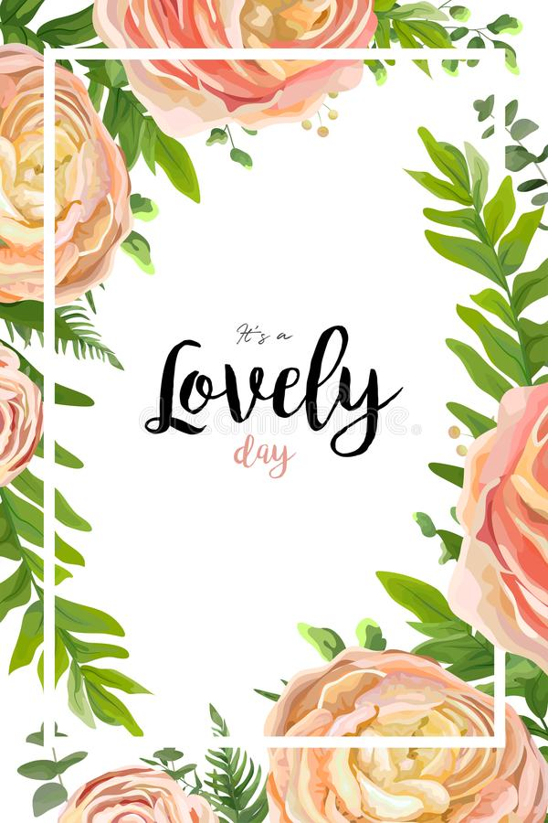 Vector floral watercolor style card design: pink peach rose Ranunculus flowers Eucalyptus greenery, fern frond leaves natural. Frame, border. Vector invite royalty free illustration