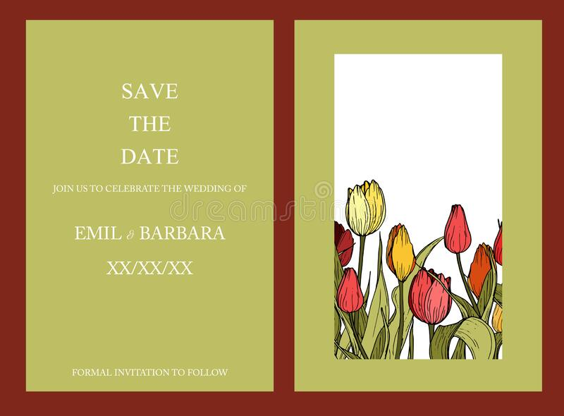 Vector floral wedding invitation card with frame of colorful garden flowers. royalty free stock images