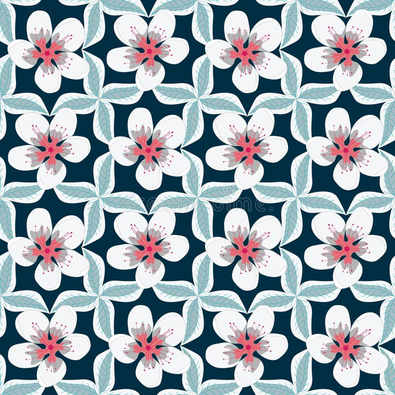 Vector Floral with White and Pink Flowers with Green Leaves on Blue Geometric Layout Seamless Repeat Pattern royalty free illustration