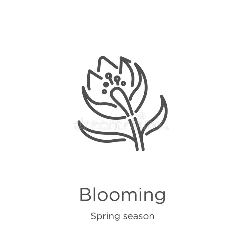 vector floreciente del icono de la colección de la estación de primavera Línea fina ejemplo floreciente del vector del icono del  ilustración del vector