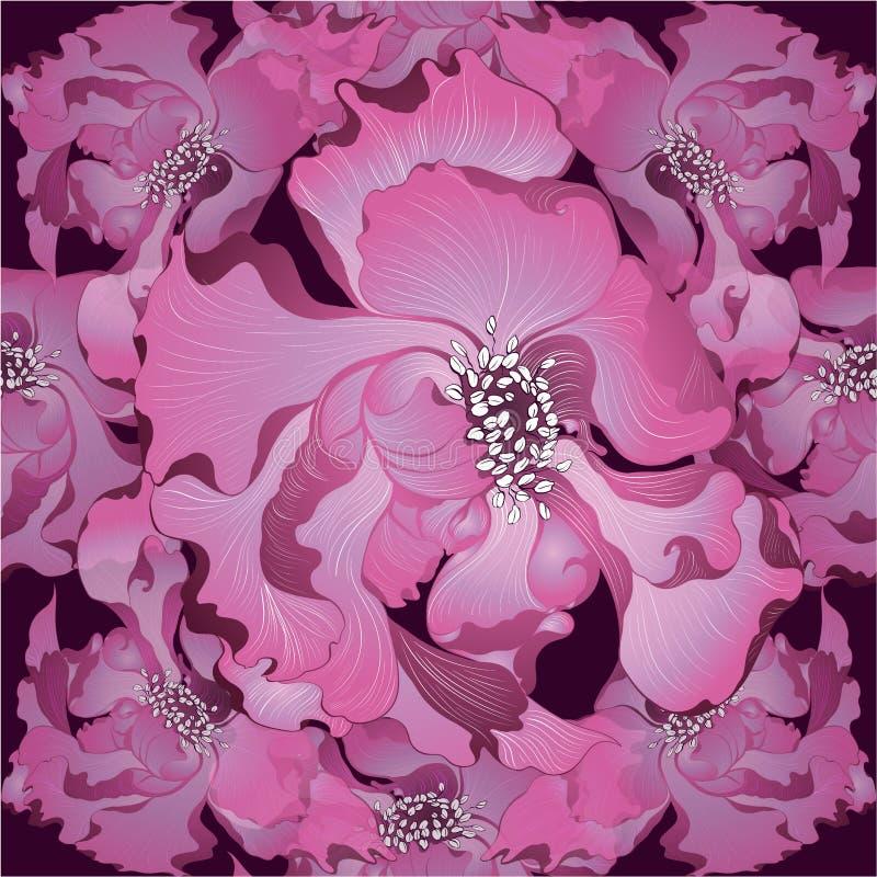 Vector Flores de la fantasía - composición decorativa Flores con los pétalos largos wallpaper Modelos inconsútiles libre illustration