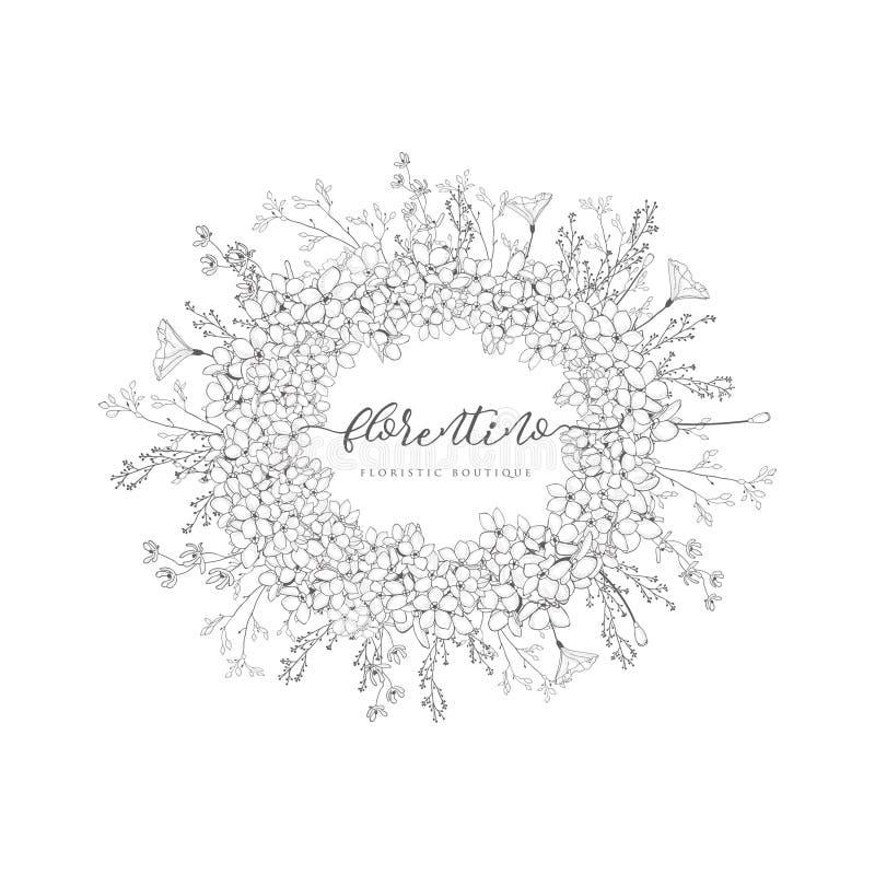 Vector Floristic Feminine Brand Logo Template Frame. royalty free illustration