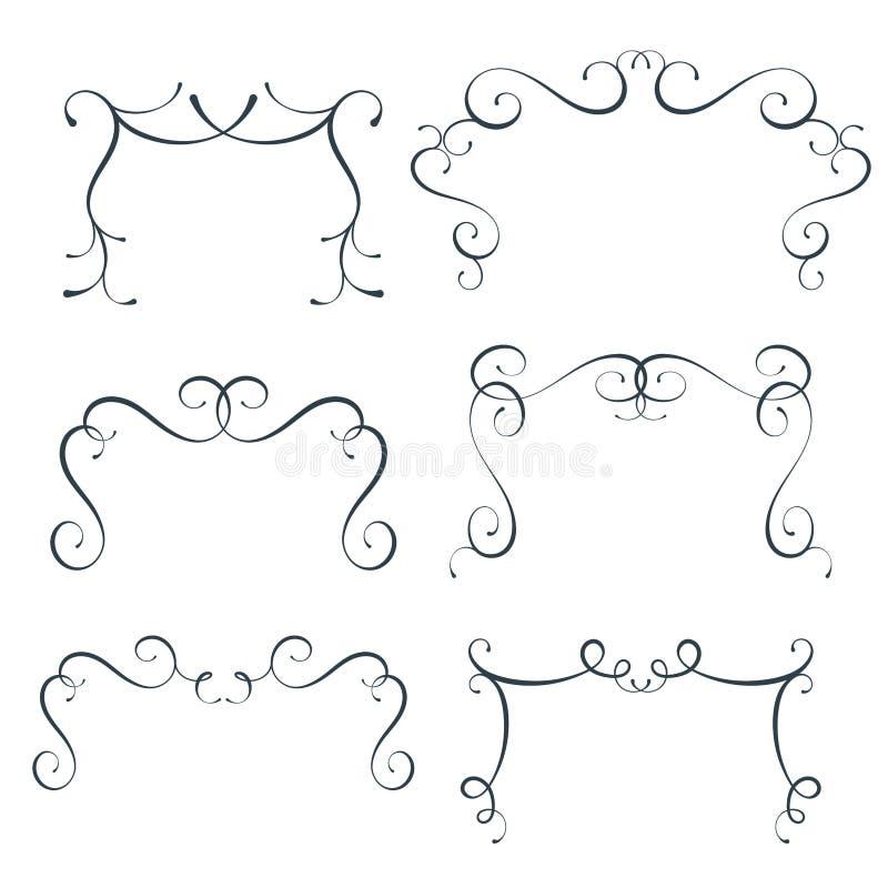 Vector flourish frames set, scroll border collection, curl decoration elements, vintage top divider decor royalty free illustration