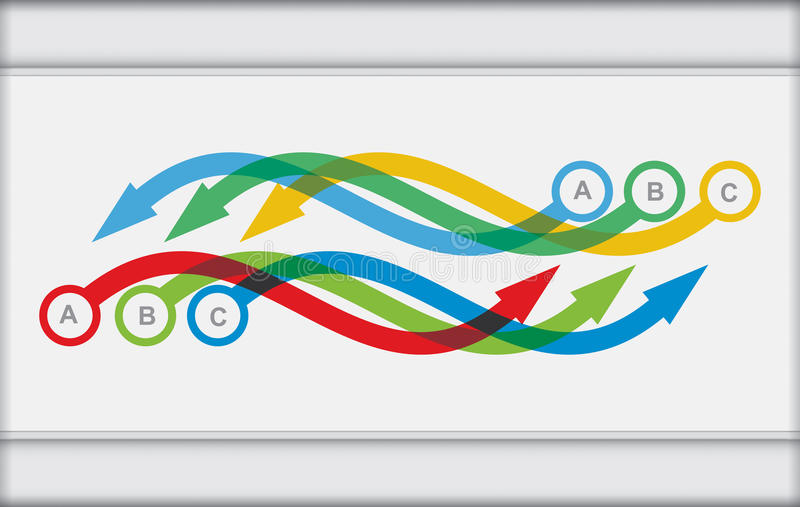 Vector flow chart template. With color arrows stock illustration