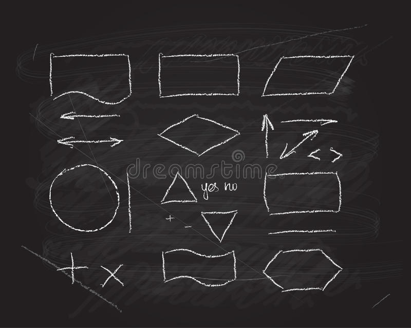 Vector flowcharts design elements on blackboard stock illustration