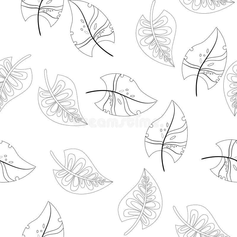 Vector flower black-white pattern. Seamless botanic texture, detailed flowers illustrations. Floral pattern in doodle vector illustration