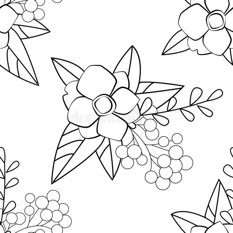 Vector flower black-white pattern. Seamless botanic texture, detailed flowers illustrations. Floral pattern in doodle style, stock illustration