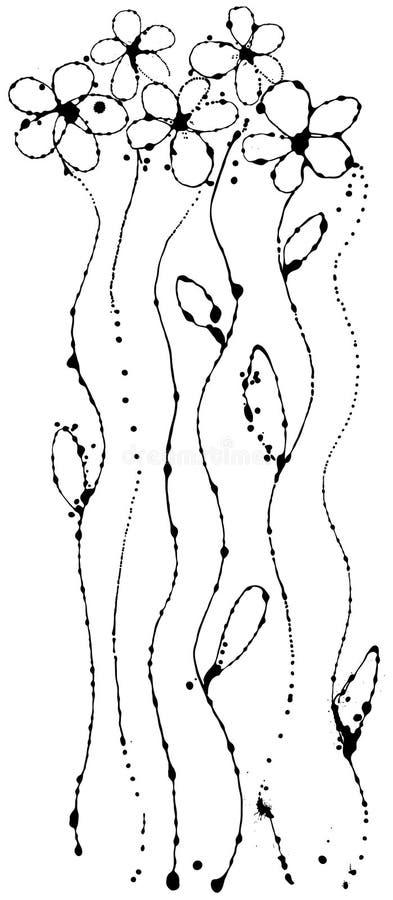 Vector flower of ink strokes stock illustration