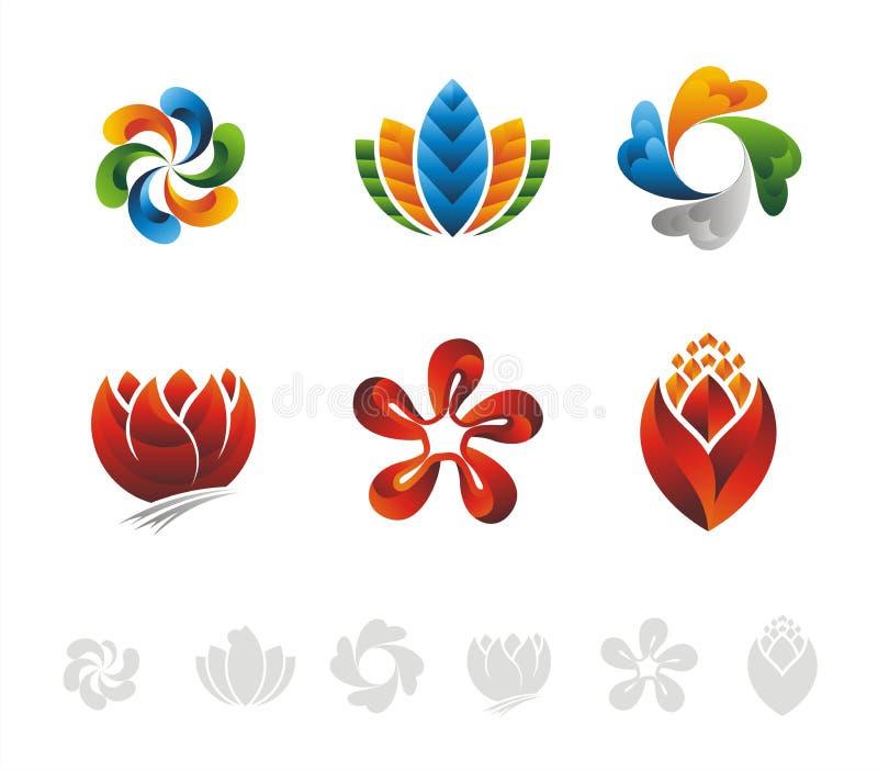 VECTOR : FLOWER LEAF GRADIEN LOGO DESIGN stock images