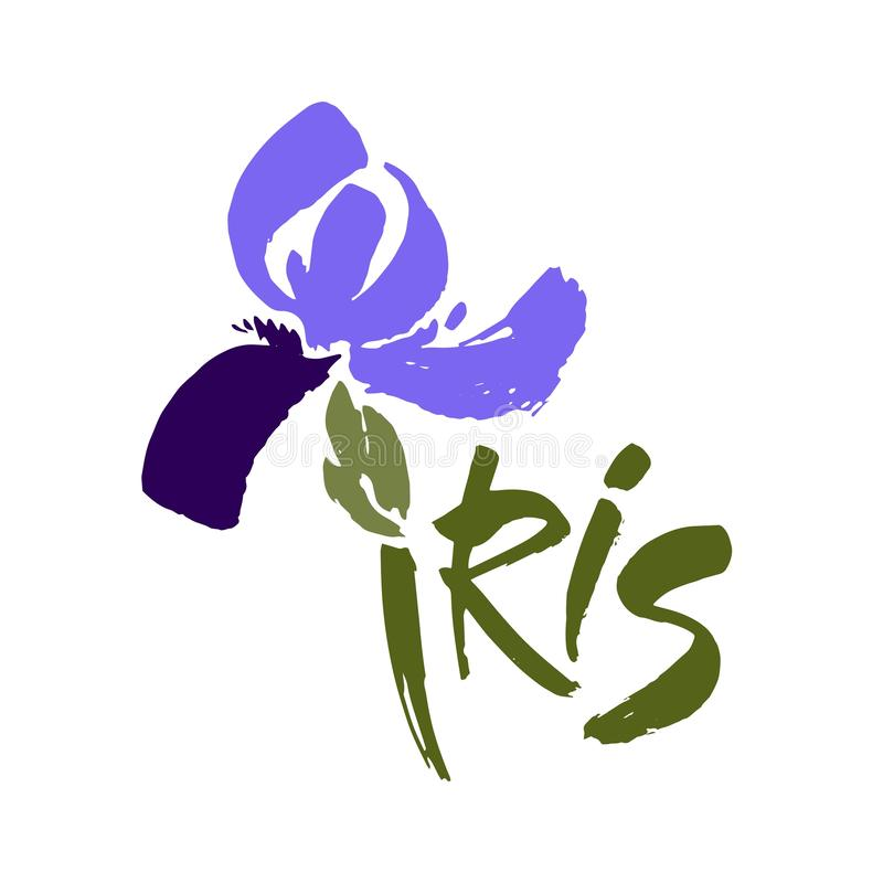 Vector flower logo. Floral background. Calligraphy ink. Stylized calligraphic ink iris. Modern brush calligraphy vector illustration