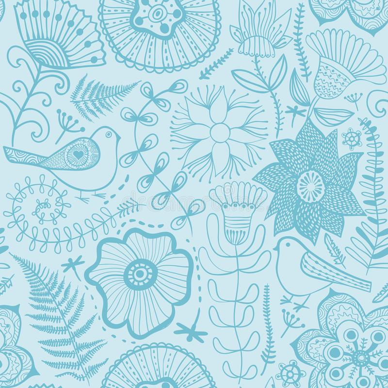 Vector flower pattern. Black and white seamless botanic texture. Detailed flowers illustrations. All elements are not cropped and hidden under mask. Doodle stock illustration