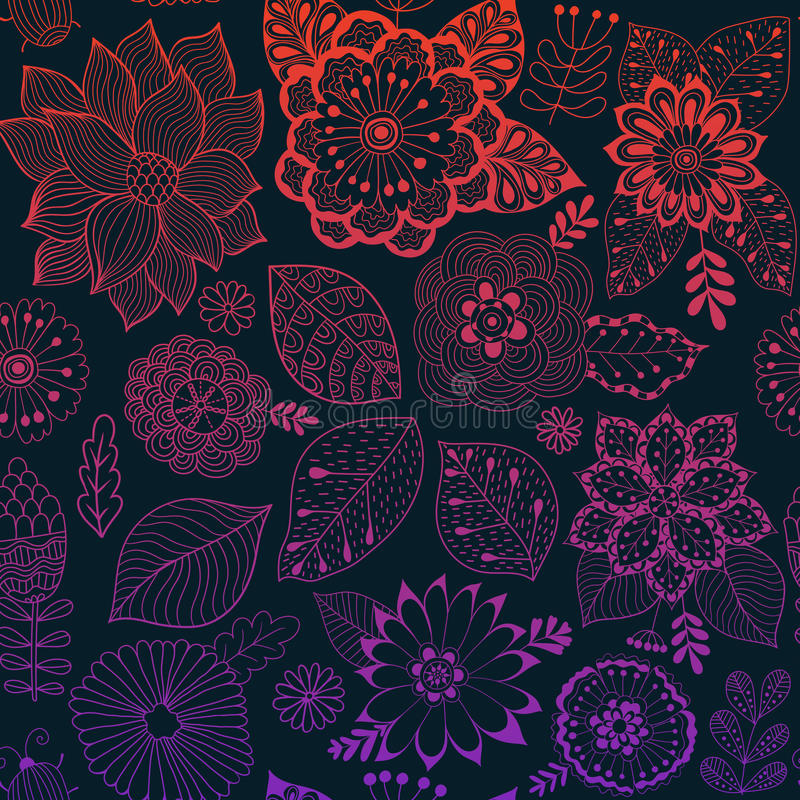 Vector flower pattern. Colorful seamless botanic texture, detailed flowers illustrations. All elements are not cropped stock illustration